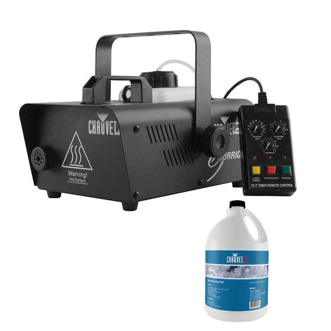 H1200 + HDF Chauvet DJ Hurricane 1200 1.0L Fog Machine w/ Wired Remote & 1 Gallon Fog Juice