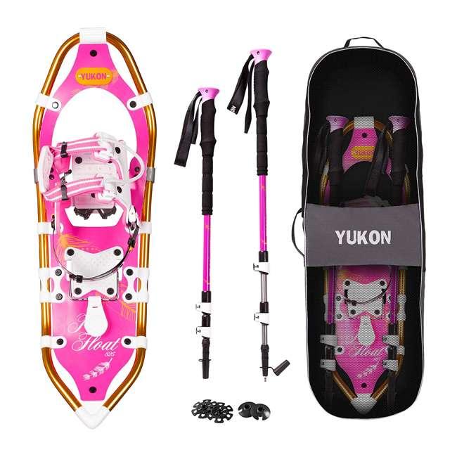 80-2011k Yukon Charlie's Pro Float Women's Fashion Snowshoe Kit w/ Poles and Bag, Pink