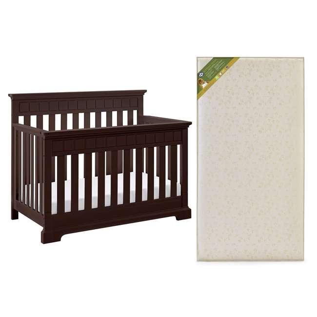 04565-509 + EM711-GJL1 Thomasville Kids Willow Crib, Espresso & Sealy Soybean Crib Mattress