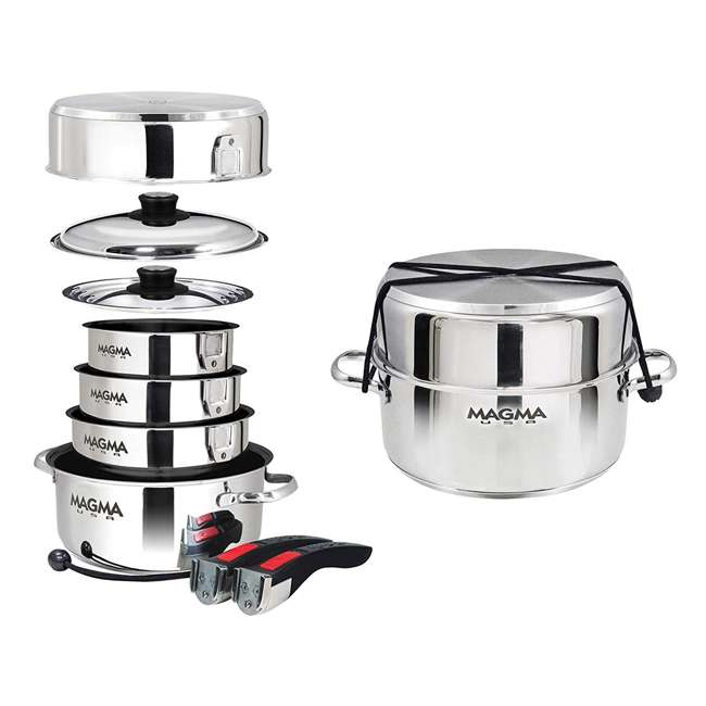A10-366-2-IND Magma 10 Piece Scratch Resistant Stainless Steel Non Stick Nesting Cookware Set 3