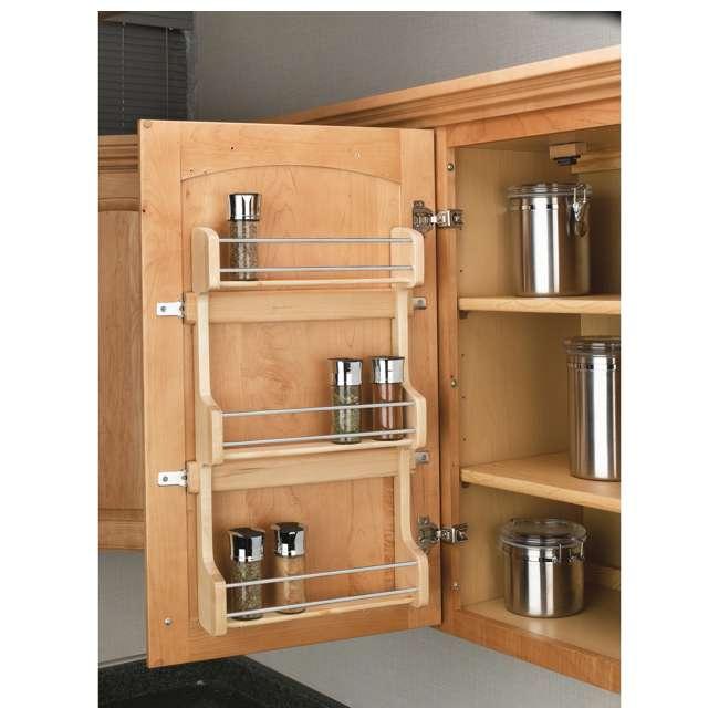 4SR-18 Rev-A-Shelf 18 Inch Cabinet Door Mount Wood 3 Shelf Spice Rack with Hardware 3