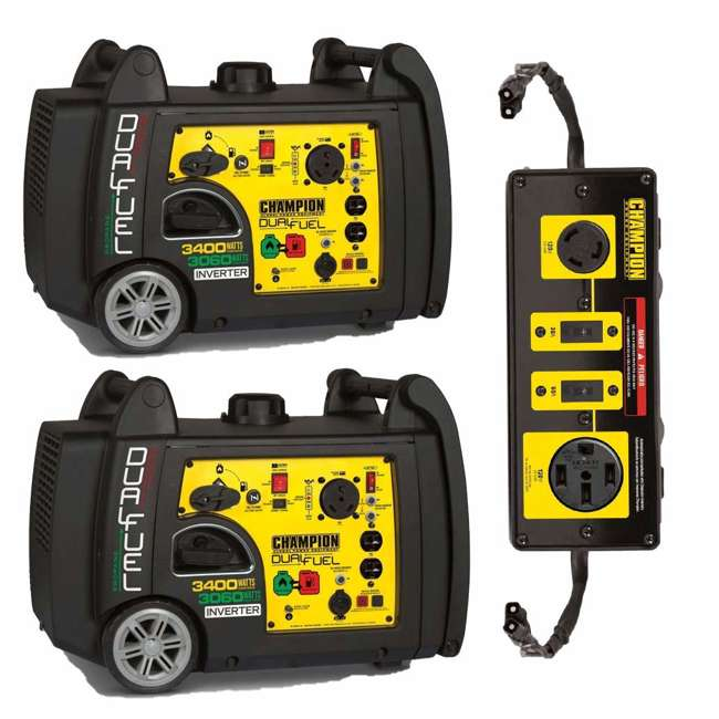 CPE-GN-100263 + CPE-AC-100319 Champion 3400W Inverter Generator (2) + Champion 50A Parallel Kit
