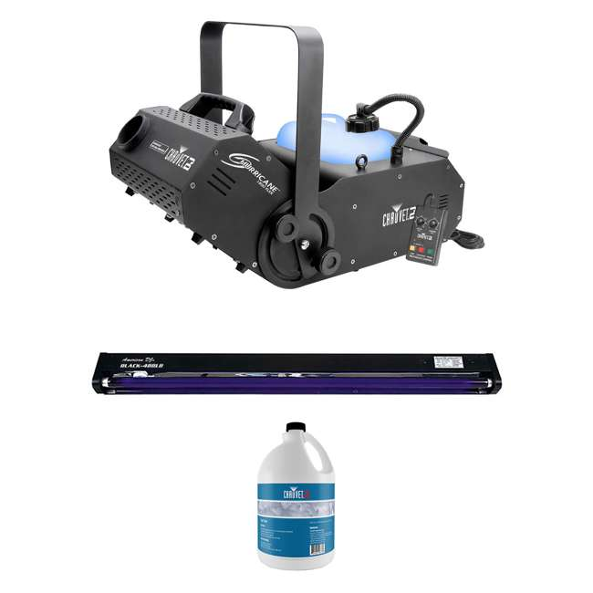 H1800FLEX + BLACK-48BLB + FJU Chauvet DJ Hurricane 1800 DMX Fog Machine + 48 Inch UV Black Light + Fog Juice