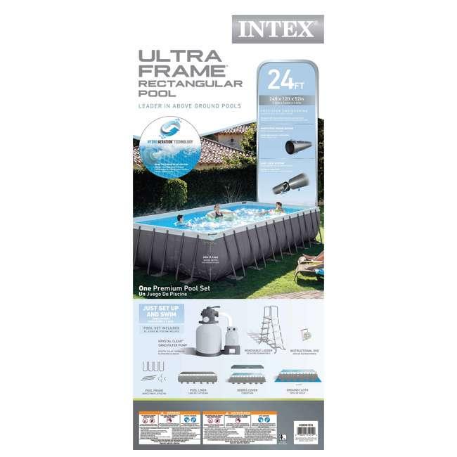 "26361EH + 2 x 58868EP + 58821EP Intex 24' x 12' x 52"" Ultra Frame Rectangular Swimming Pool Set 5"