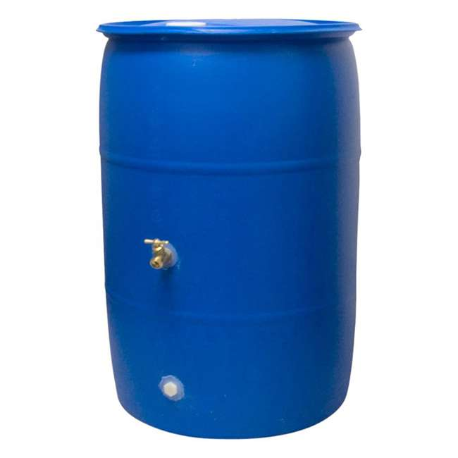 RB55-BLUE-U-A Good Ideas Blue 55G Recycled Plastic Rainwater Collection Barrel Drum (Open Box) 1