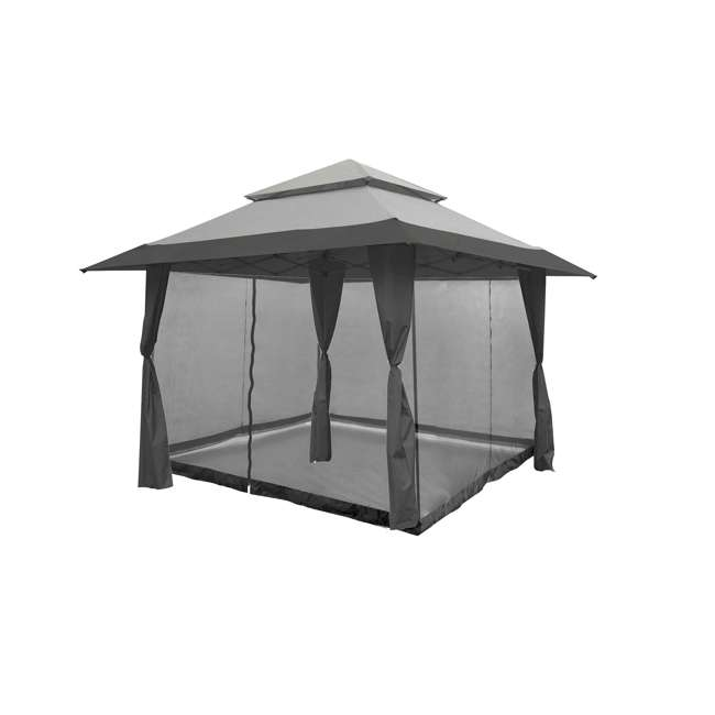 ZS13GAZGRY + ZS13SRGAZVM Z-Shade 13 x 13 Foot Instant Gazebo Canopy Outdoor Shelter with Bug Screen, Gray