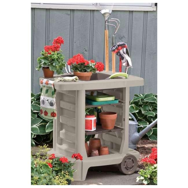 GC1500B Suncast Portable Outdoor Garden Center Station Tool Cart, Light Taupe (Used) 1
