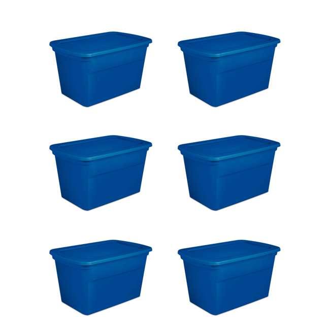 6 x 17361C06 Sterilite 30 Gallon Heavy Duty Stackable Storage Tote, Blue Morpho (6 Pack)