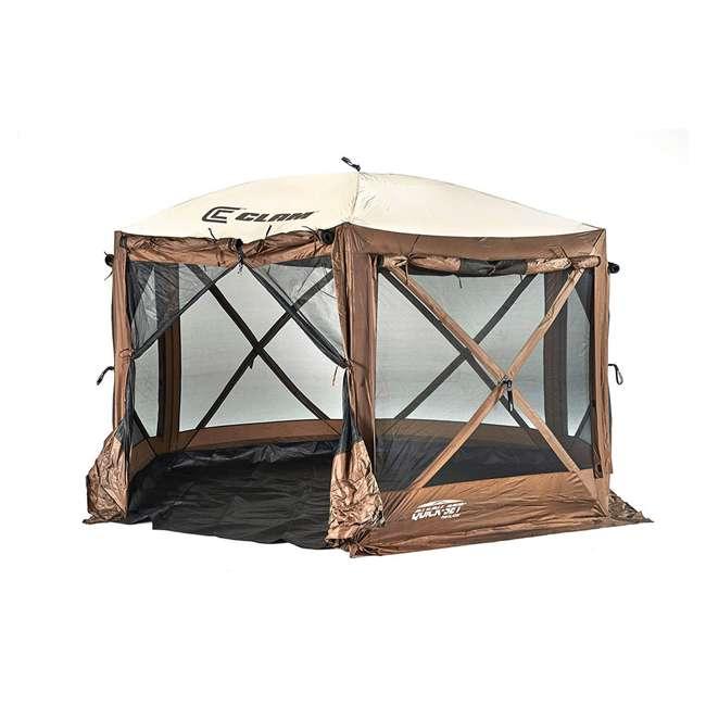 CLAM-PV-9882 + CLAM-PV-FLOOR-12878 Clam Quickset Pavilion Camper Brown Tent and Floor Tarp