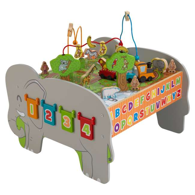17508 KidKraft Kids Toddler Wooden Zoo Train Play Table Activity Station with Storage