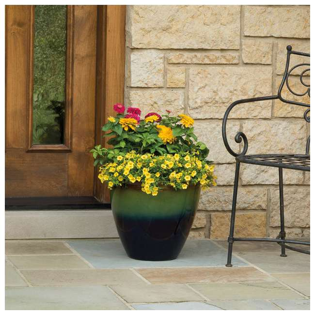 1606GP32 Suncast Seneca 16 Inch Decorative Resin Flower Planter Pot, Green/Blue (2 Pack) 2