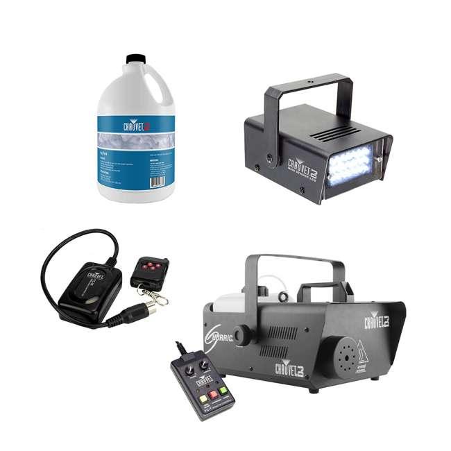 H1600 + FJU + MINISTROBE-LED + FC-W Chauvet DJ Hurricane 1600 Fog Machine Bundle with Fog Juice, Strobe LED, Wireless Remote