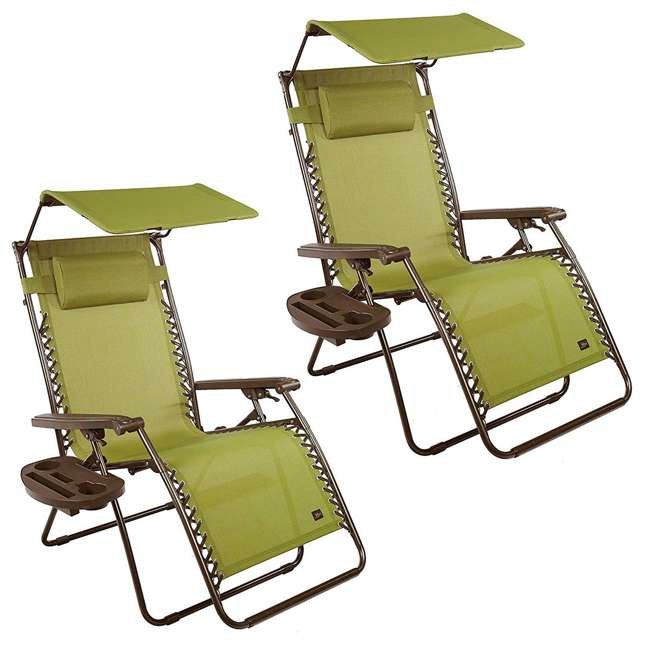 GFC-450WSG Bliss Hammocks GFC-450WSG 30 Inch Zero Gravity Chair with Canopy, Green (2 Pack)