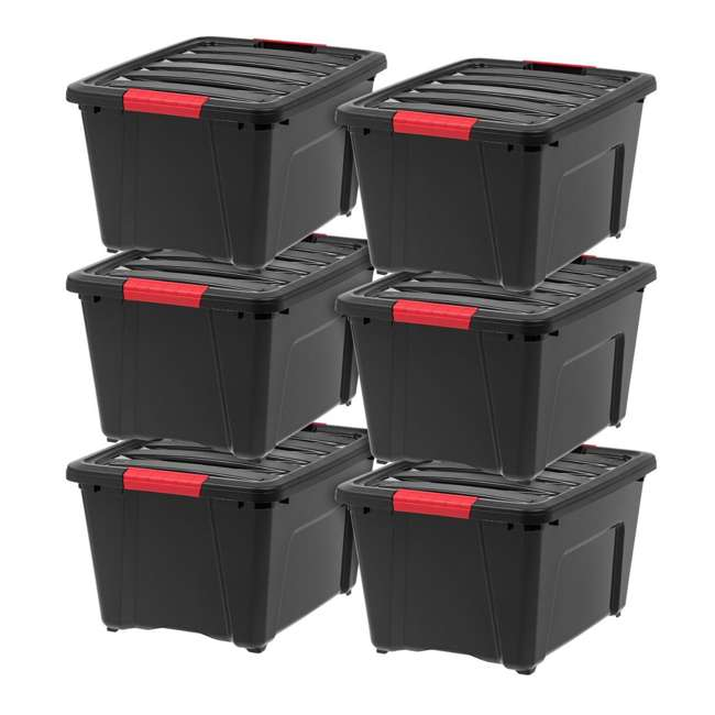 588247-6PK IRIS 32 Quart Stack and Pull Storage Container Box Bin System w/ Lids (6 Count)