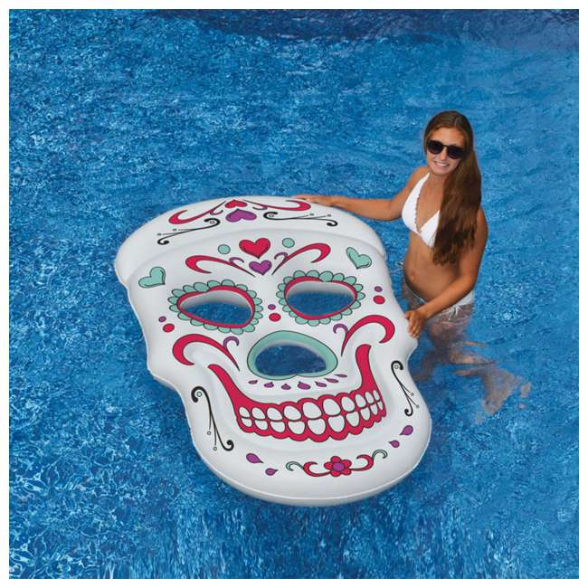 90555-U-A Swimline Giant Inflatable 62-Inch Sugar Skull Pool Island Raft (Open Box) 4