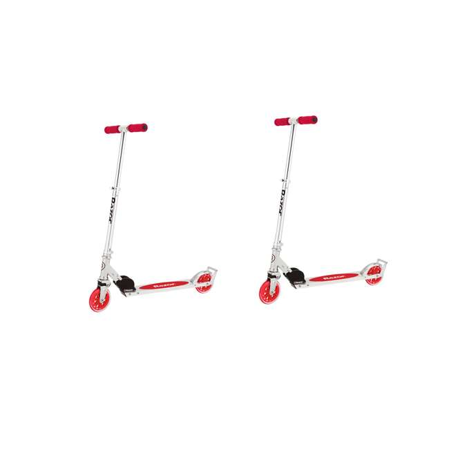 13014360 Razor A3 Kids Folding Aluminum Portable Scooter with Wheelie Bar, Red (2 Pack)