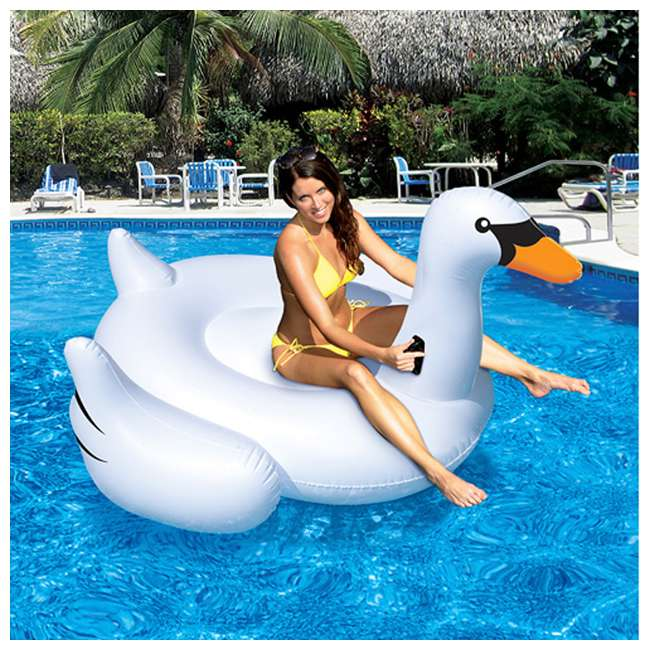 90621 + 90627 Swimline Swimming Pool Giant Rideable Inflatable Swan + Flamingo | 90621 + 90627 2