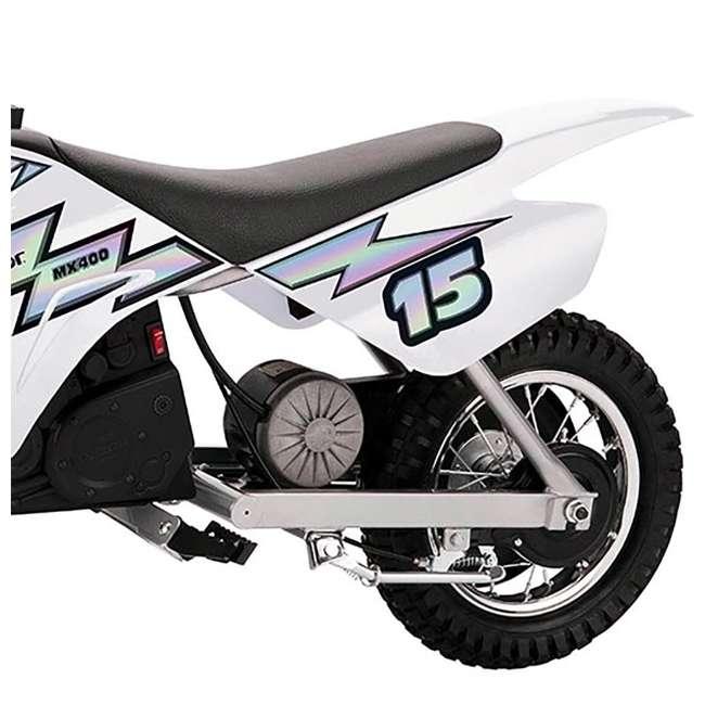 15128008 + 97775 Razor MX400 Dirt Rocket Electric Motorcycle, White + Helmet 5