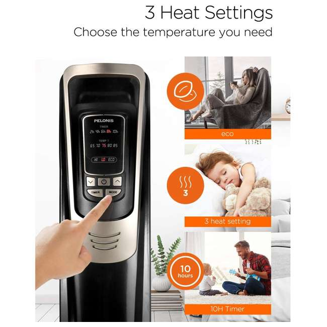 PH-14A Pelonis Oil Filled Radiator Portable Space Heater with Programmable Thermostat 5