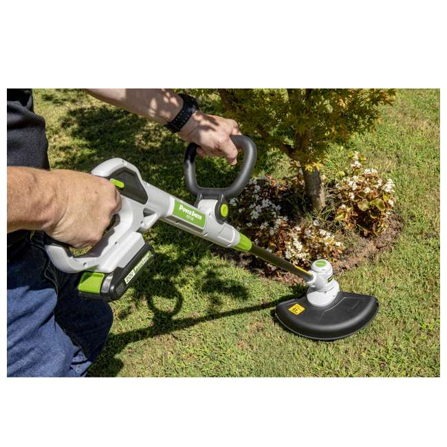 PGT120 + PLB12040 PowerSmith 20V Max Cordless Battery Powered Lawn String Trimmer w/ Extra Battery 7