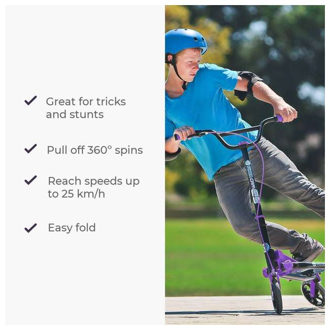 100607 Yvolution Y Fliker Carver C5 Kids/Adult Foldable Wiggle Drifting Scooter, Purple 4