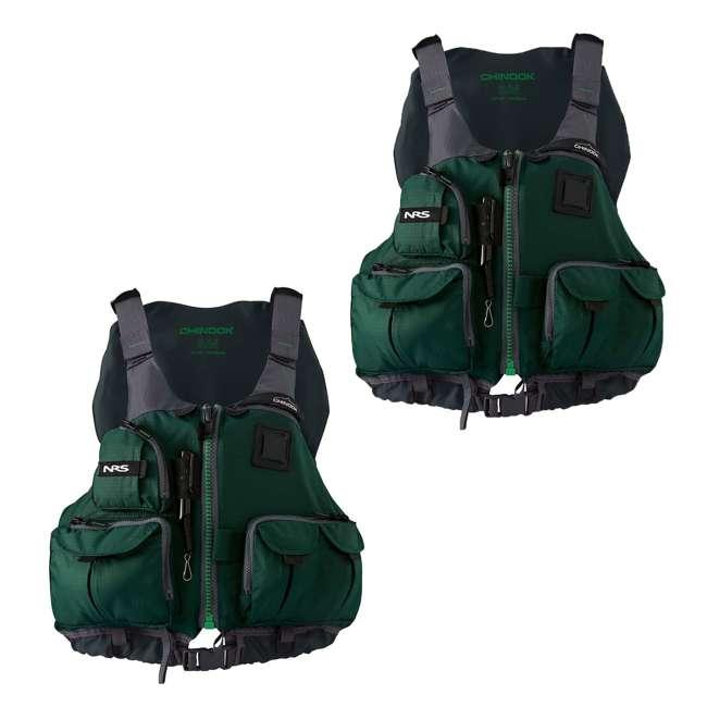 NRS_40009_03_100 NRS Chinook PFD Small/ Medium Safety Life Jacket, Green (2 Pack)