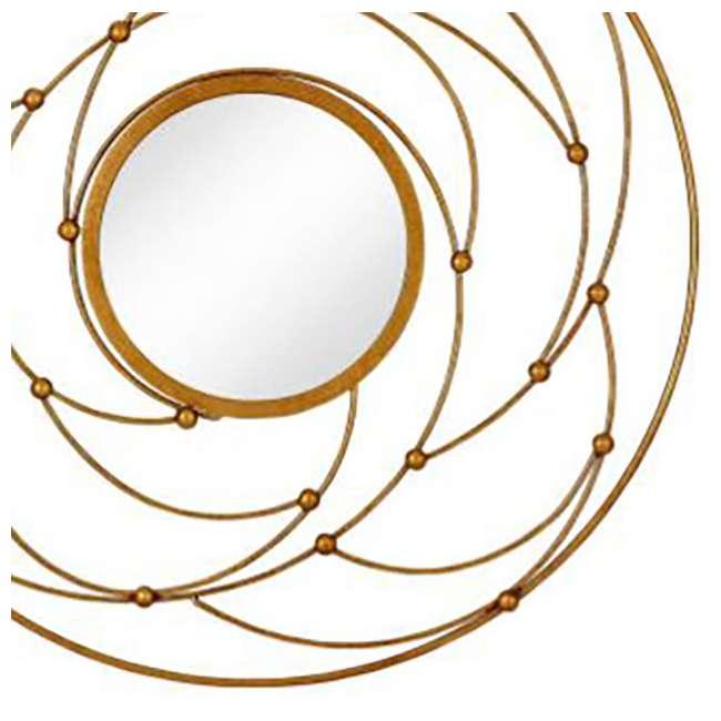 2641-P Majestic Mirror Round Contemporary Gold Leaf Metal Decorative Accent Mirror 1