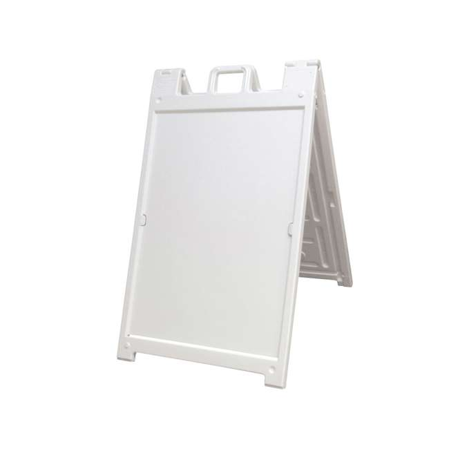 140NS Plasticade Deluxe Signicade Double-Sided Sign Stand, White