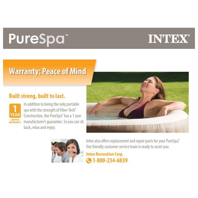 28403E + 3 x 29001E Intex Pure Spa 4-Person Inflatable Portable Hot Tub with 6 Filter Cartridges 11
