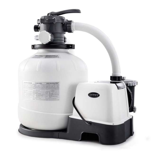 26679EG Intex 16 Inch 2,150 GPH Krystal Clear Saltwater System & Sand Filter Pump, Gray