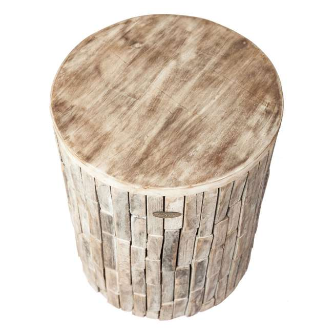 62420 Fire Sense Elyse Round Reclaimed Wood Garden & Patio Stool 2