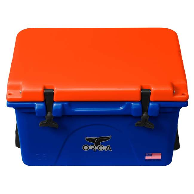 ORCBL/OR026 Orca Roto Molded 26 Quart 24 Can Insulated Ice Chest Cooler, Blue and Orange 1