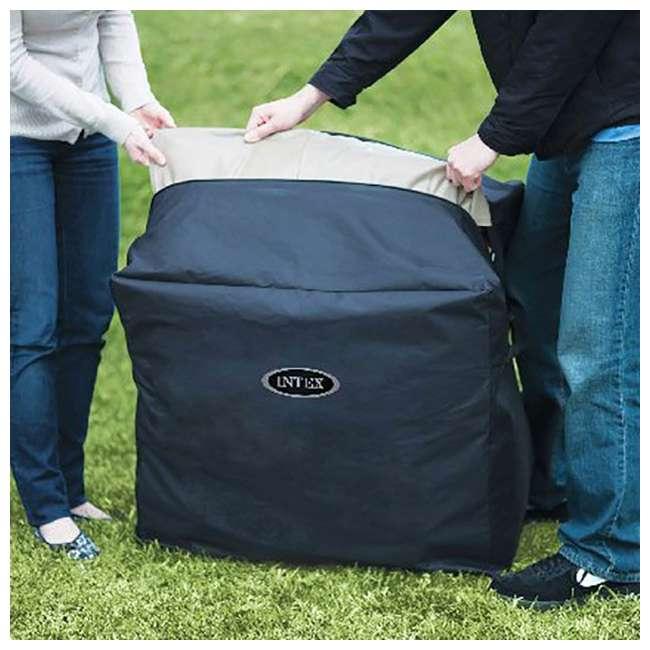 28403VM + 28500E + 28501E Intex PureSpa 4 Person Inflatable Spa Portable Hot Tub with Cupholder & Headrest 4
