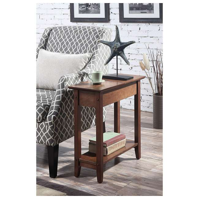 R6-261 Convenience Concepts American Heritage Flip Top Wooden Side End Table, Walnut 2