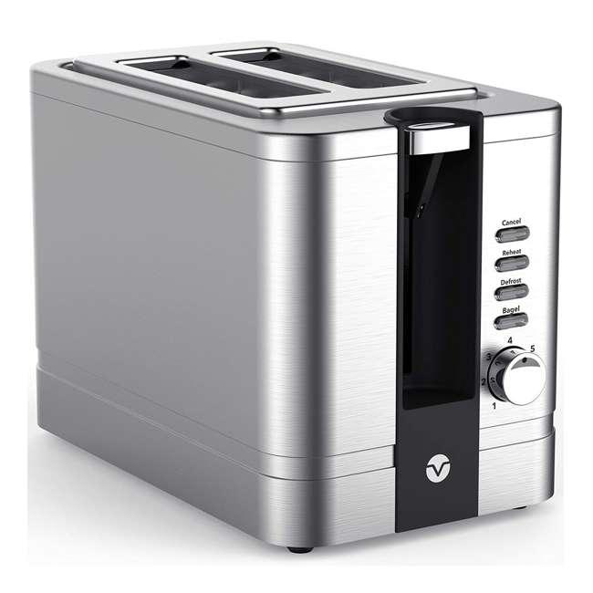 VRM010011N Vremi VRM010011N Retro Stainless Steel Countertop Wide Slot 2 Slice Toaster