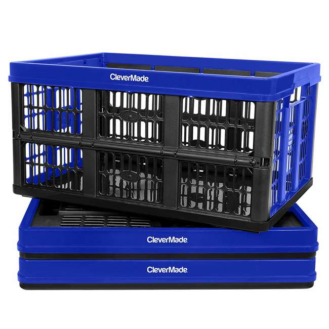 8031165-7033PK CleverMade CleverCrate Plastic 45L Collapsible Storage Bins, Royal Blue (3-Pack)