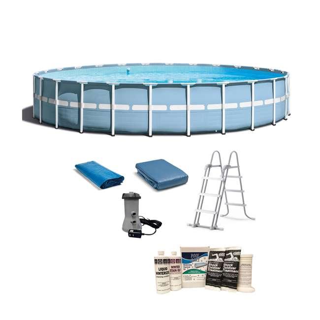 "26761EH + QLC-57620 Intex 24'x 52"" Prism Frame Pool w/ Ladder, Pump, & Winterizing Kit"