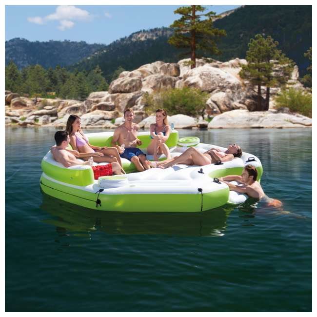 56291CA-U-B Intex Inflatable Key Largo Party Island w/ Built-In Coolers & Cupholders | Used 1