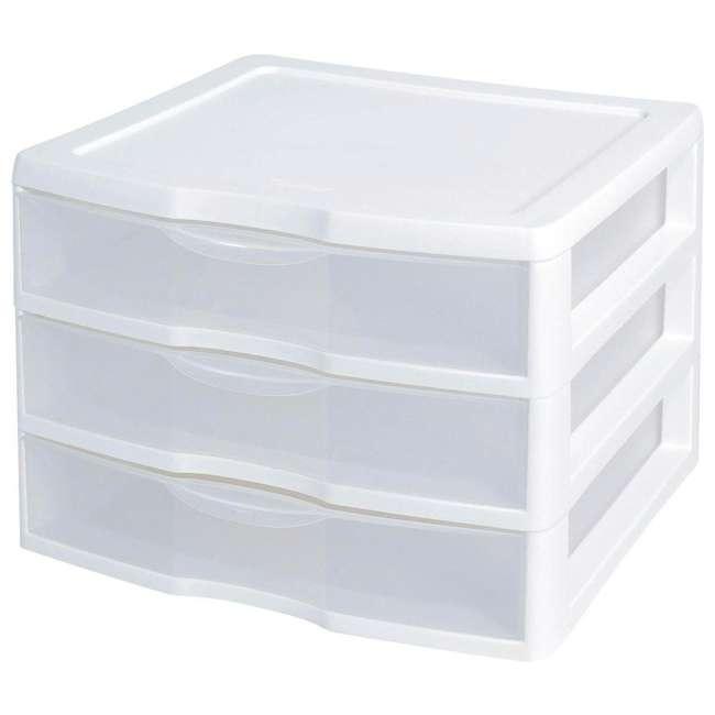 6 x 20938003 Sterilite Wide 3 Drawer Desktop Storage Unit (6 Pack) 1