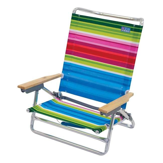 ASC590-1803-1 Rio Classic 5 Position Aluminum Lay Flat Folding Beach Lounge Chair, Beach Club 1