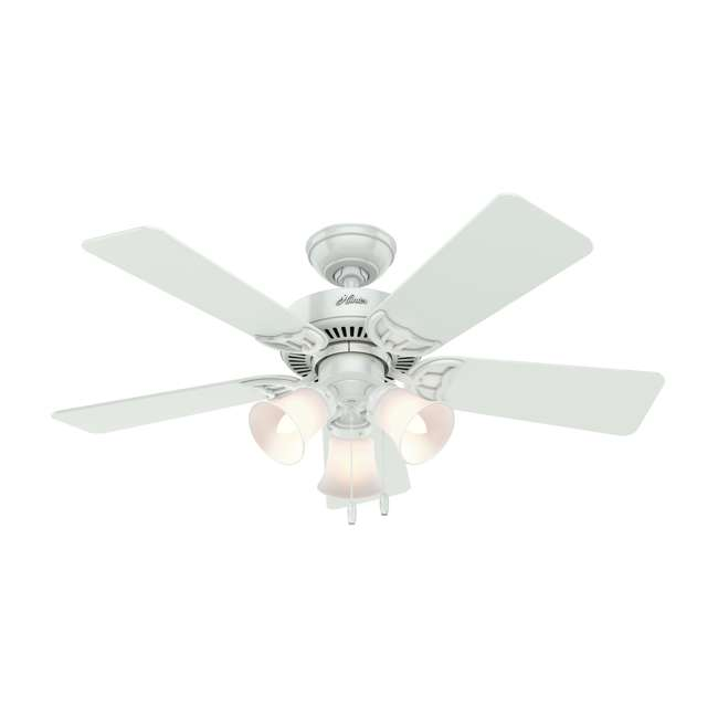 51005 Hunter 44 Inch Quiet Breeze Fresh White Ceiling Fan with Pull Chain and Light 2