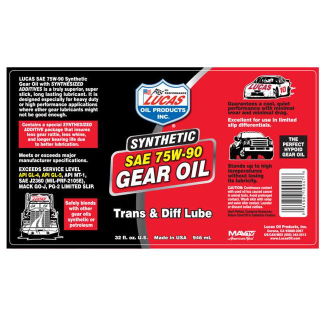 10048 Lucas Oil 10048 Trans & Diff Synthetic SAE 75W-90 Gear Lubricant Oil, 1 Gallon 1