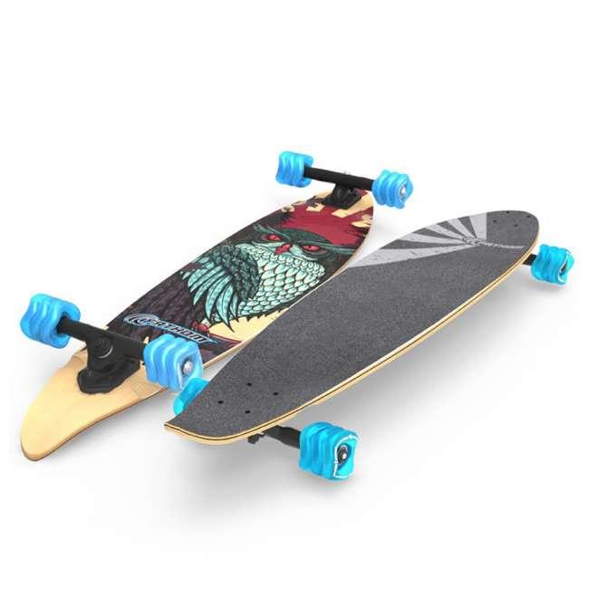 "T8-3022 + 08057-SHARK Triple 8 Dual Certified Skate & Bike Helmet S/M, Blue + Fathom Shark Wheel Pintail 39"" Longboard 6"