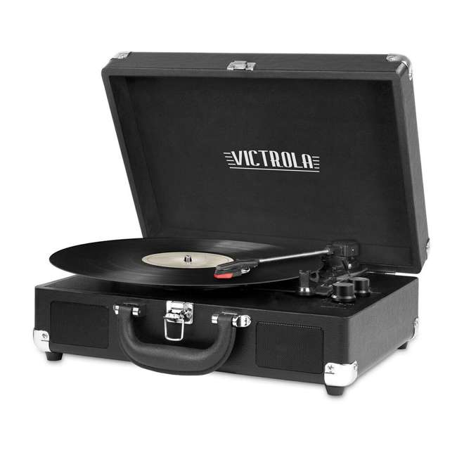 VSC-550BT-BK Victrola 3-Speed Bluetooth Suitcase Record Player, Black