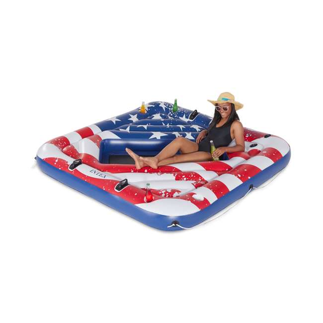 3 x 57264VM Intex 57264VM Inflatable American Flag 2 Person Party Island Lake Pool Float (3 Pack) 1