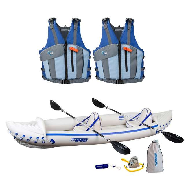 Sea Eagle Pro Inflatable Kayak and 2 Life Jackets, M/L