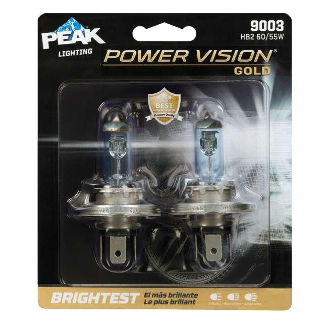 9003PVG-2BPP PEAK Lighting Gold HB2 60W Bright White Halogen Headlight Bulbs