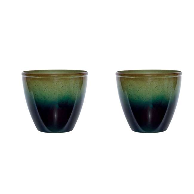 1606GP32 Suncast Seneca 16 Inch Decorative Resin Flower Planter Pot, Green/Blue (2 Pack)