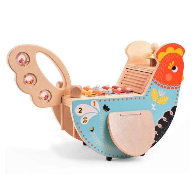 216570 Manhattan Toy Musical Colorful Chicken Wooden Instrument with 5 Attachments 2