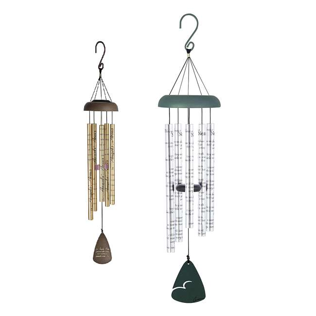 62913 + 60501 Carson Home Accents Sonnet Memorial Wind Chime & Angle's Arms Outdoor Wind Chime